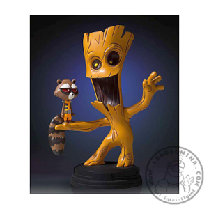 Groot con Mapache Cohete Animated Statue